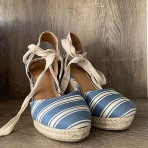 Report Blue White Espadrille Lace Up Wedges sz 7